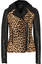 A.L.C. Lee Leopard Print Calf Hair And Leather Biker Jacket