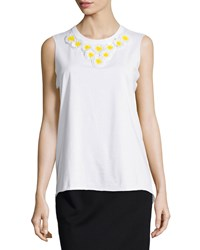 Red Valentino Sleeveless Daisy Embellished Top Bianco Women's