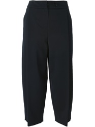 Emporio Armani Pleat Cropped Trousers Blue