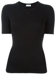 Courra Ges Ribbed Fitted T Shirt Black