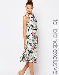 Paper Dolls Tall Floral Printed Midi Prom With Bow Detail Multi