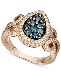 Effy Collection Bella Bleu By Effy Diamond Blue And White Diamond Teardrop 9 10 Ct. T.W. In 14K Rose Gold