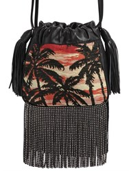 Saint Laurent Helena Studded Fringe Jacquard Bag