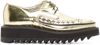 99 Is Gold And Black Leather Creepers