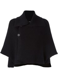 Y's Batwing Cape Cardigan Black