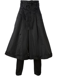 D.Gnak Wide Pleated Layered Pants Black