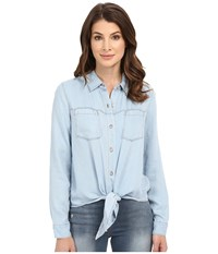 7 For All Mankind Tie Front Denim Shirt In Ibiza Clear Blue Ibiza Clear Blue Women's Clothing