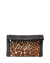 Ash Domino Fold Over Clutch Leopard