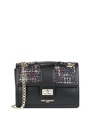 Karl Lagerfeld Tweed Accented Leather Shoulder Bag Wine Tweed