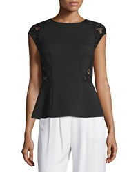 Rebecca Taylor Cap Sleeve Peplum Top W Lace Black
