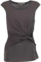 Halston Twist Front Stretch Jersey Tank Brown