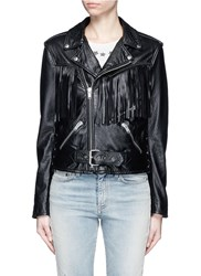 Saint Laurent Fringe Lace Up Leather Biker Jacket Black