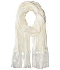 Michael Michael Kors Classic Hand Knit Cable Muffler Cream Scarves Beige