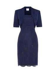 Anoushka G Bethany Beaded Lace Dress With Bolero Blue
