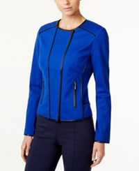 Inc International Concepts Faux Leather Trim Moto Jacket Only At Macy's Goddess Blue Black