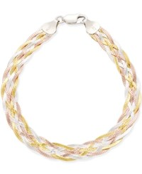 Giani Bernini Tri Tone Braided Bracelet In Sterling Silver With Gold Plated And Rose Gold Plated Sterling Silver Only At Macy's