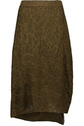 M Missoni Draped Stretch Jacquard Knit Skirt Army Green
