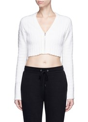 Live The Process 3D Printed Chunky Rib Knit Cropped Cardigan White