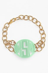 Women's Moon And Lola 'Annabel' Medium Personalized Monogram Bracelet Mint Gold