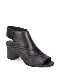 Vince Julianna Smooth Leather And Lizard Embossed Leather Mules Black Lizard