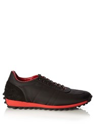 Burberry Technical Low Top Nylon And Suede Trainers Black Multi