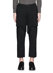 Ziggy Chen Shorts Overlay Wool Blend Pants Black