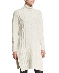 Derek Lam 10 Crosby Cable Knit Side Slit Turtleneck Dress Cream Melange