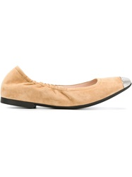 Bally Toe Cap Ballerinas Nude And Neutrals
