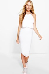Boohoo Sleevless Double Layer Midi Dress White