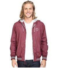 Vissla Daymer Hooded Zipper Front Jersey Lined Jacket 600 Durable Water Coating Port Men's Coat Burgundy
