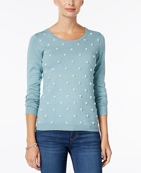 Charter Club Decorative Pearl Sweater Only At Macy's Dusted Aqua