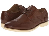 Hush Puppies Fowler Ez Dress Cognac Leather Men's Lace Up Wing Tip Shoes Brown