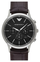Emporio Armani 'Dress Chrono' Leather Strap Watch 43Mm Brown Black Silver