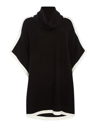 Episode Colour Block Knitted Poncho Black White Black White