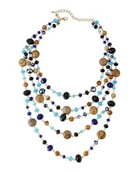Emily And Ashley Greenbeads By Emily And Ashley Multi Strand Mixed Crystal And Stone Necklace Blue Black Multi