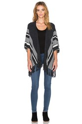 Velvet By Graham And Spencer Feline Cashmere Classics Fringe Cardigan Gray