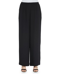 Eskandar Wide Leg Flared Trousers Black