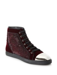 Louis Leeman Swarovski Crystal Embellished Velvet High Top Sneakers Burgundy