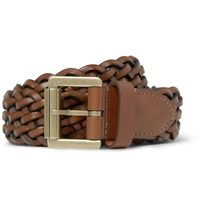 Mulberry Brown 3Cm Woven Leather Belt