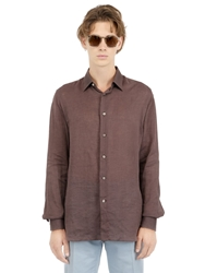 Faconnable Linen Shirt Brown