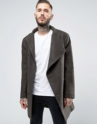 Religion Overcoat With Asymmetric Buttons Khaki Green