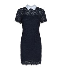 Michael Michael Kors Contrast Collar Lace Dress Female Navy