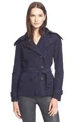 Burberry Brit 'Balmoral' Cropped Trench Coat With Detachable Hood Navy