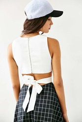 Silence And Noise Silence Noise Tie Back Cropped Tank Top White