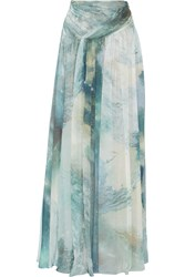 Matthew Williamson Gathered Printed Silk Chiffon Maxi Skirt Blue