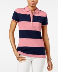 Tommy Hilfiger Rugby Striped Polo Top Coral Blush Core Navy