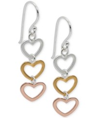 Giani Bernini Tri Tone Heart Drop Earrings In 18K Gold Plate Rose Gold Plate And Sterling Silver Only At Macy's Tri Tone