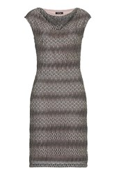 Vera Mont Cowl Neck Fine Crochet Dress Grey