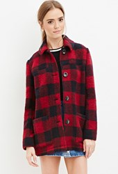 Forever 21 Buffalo Plaid Coat Red Black