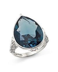 Judith Ripka Sterling Silver Bermuda Pear Shaped Ring With London Blue Spinel Blue Silver
